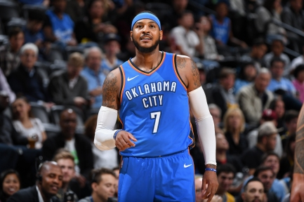 DENVER, CO - OCTOBER 10: Carmelo Anthony #7 of the Oklahoma City Thunder looks on during the game against the Denver Nuggets on October 10, 2017 at the Pepsi Center in Denver, Colorado. NOTE TO USER: User expressly acknowledges and agrees that, by downloading and/or using this Photograph, user is consenting to the terms and conditions of the Getty Images License Agreement. Mandatory Copyright Notice: Copyright 2017 NBAE (Photo by Garrett Ellwood/NBAE via Getty Images)