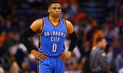 Mar 3, 2017; Phoenix, AZ, USA; Oklahoma City Thunder guard Russell Westbrook (0) reacts in the second quarter against the Phoenix Suns at Talking Stick Resort Arena. Mandatory Credit: Mark J. Rebilas-USA TODAY Sports